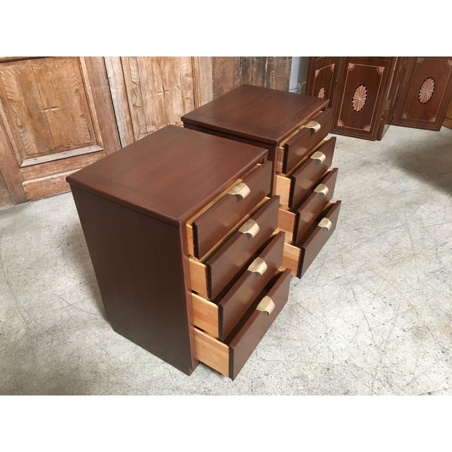 Brass Mid-Century Modern Edward Wormley for Drexel Wood Precedent Nightstands - a Pair For Sale - Image 7 of 11