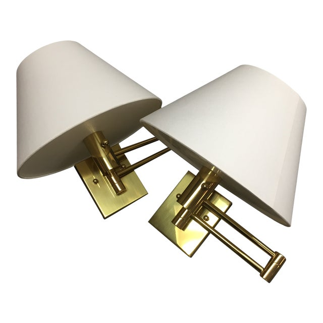 Casella Satin Brass Oversized Swing Arm Wall Lamp and Linen Shade - a Pair For Sale