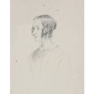 James Ramsay Graphite Portrait Drawing of a Woman, Early 1800s For Sale