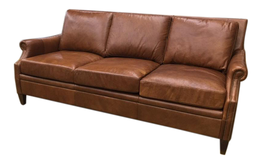 Beau Leather Vintage Inspired Sofa For Sale