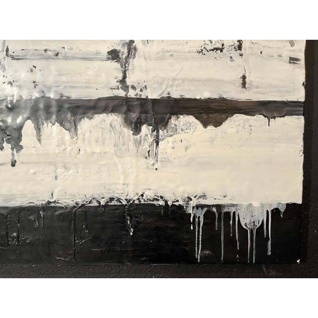 "Encaustic Lynn Basa Encaustic Black and White Stripe Panel ""Mostly White"" 2012 For Sale - Image 7 of 12"