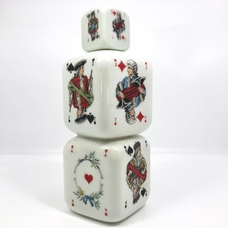 Italian 1950s Milk Glass Bottle With Playing Card Design Preview