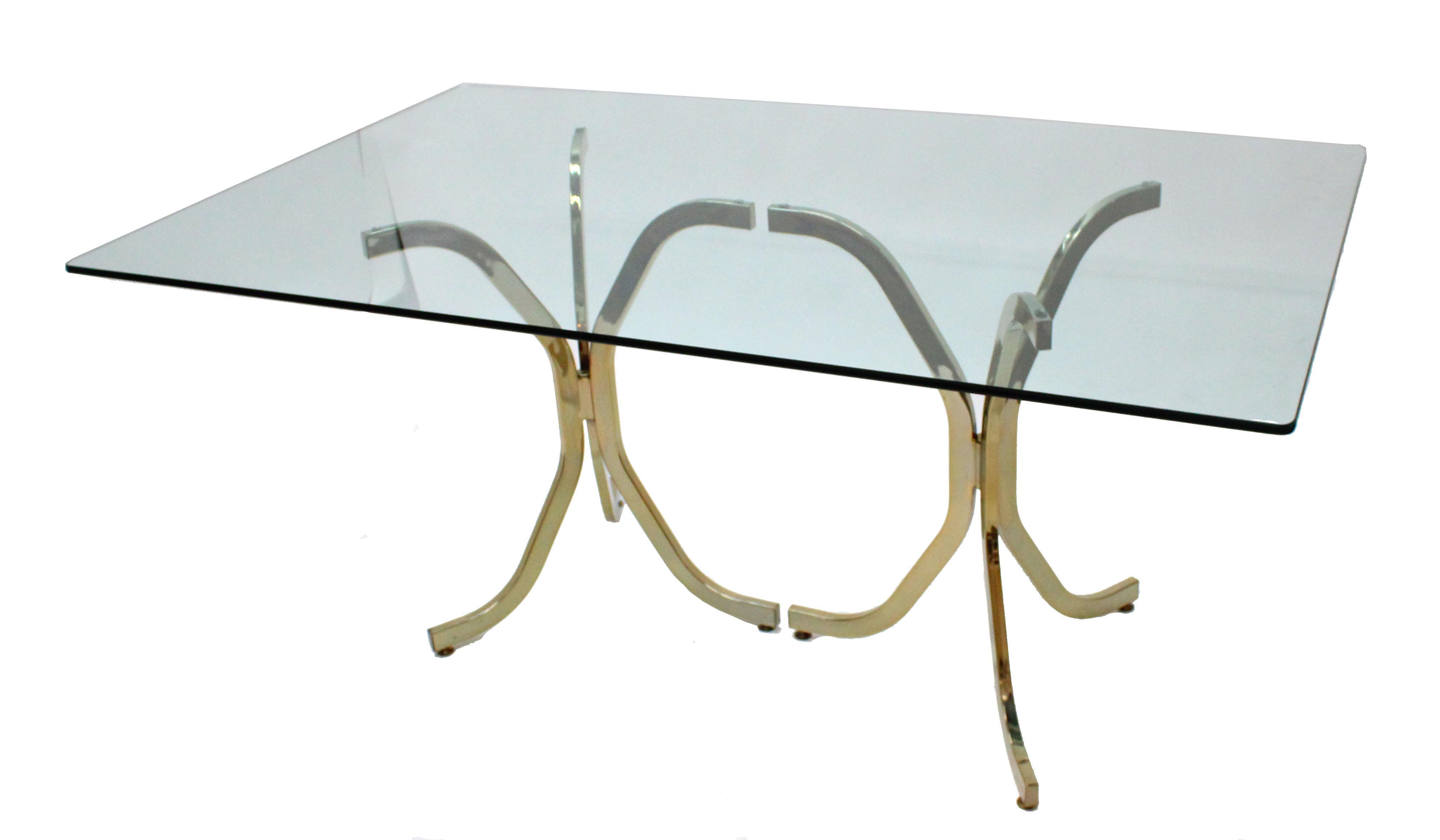 Milo Baughman Style Brass U0026 Glass Dining Table For Sale
