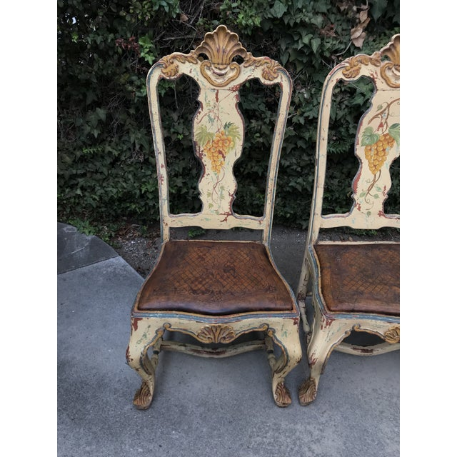 Orange Late 18 C. Italian Carved and Handpainted Chairs - Set of 3 For Sale - Image 8 of 13