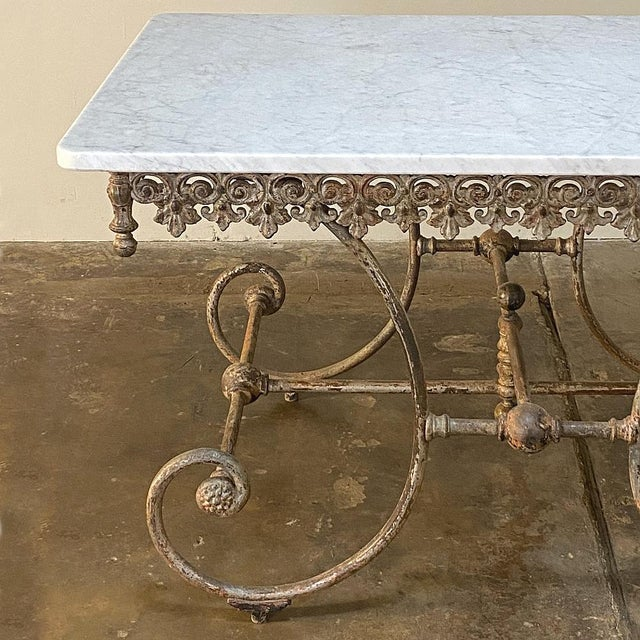 Metal 19th Century Iron Marble Top Confectioner's Table For Sale - Image 7 of 13
