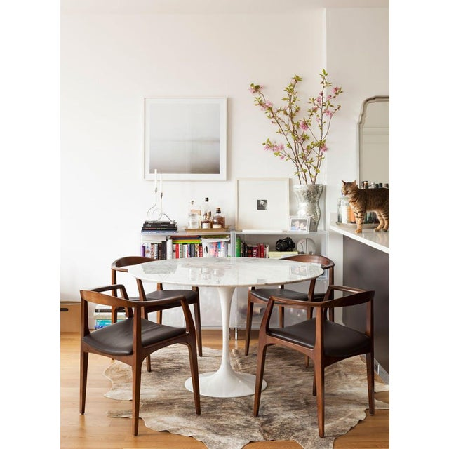 Room Board Saarinen White Carrara Marble Round Dining Table Chairish - Room and board saarinen table