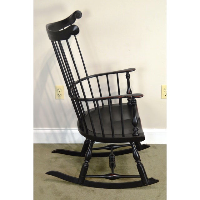 Traditional Custom Crafted Distressed Black Painted Windsor Rocker Rocking Chair For Sale - Image 3 of 13