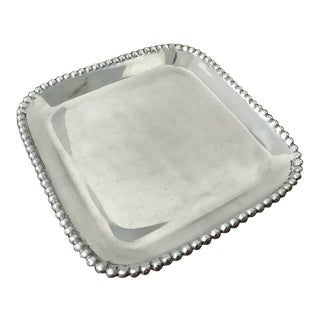Pearled Square Serving Platter For Sale