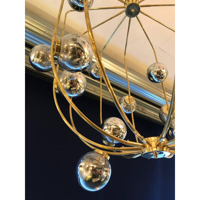 Contemporary Contemporary Chandelier Brass Cage. Italy For Sale - Image 3 of 11