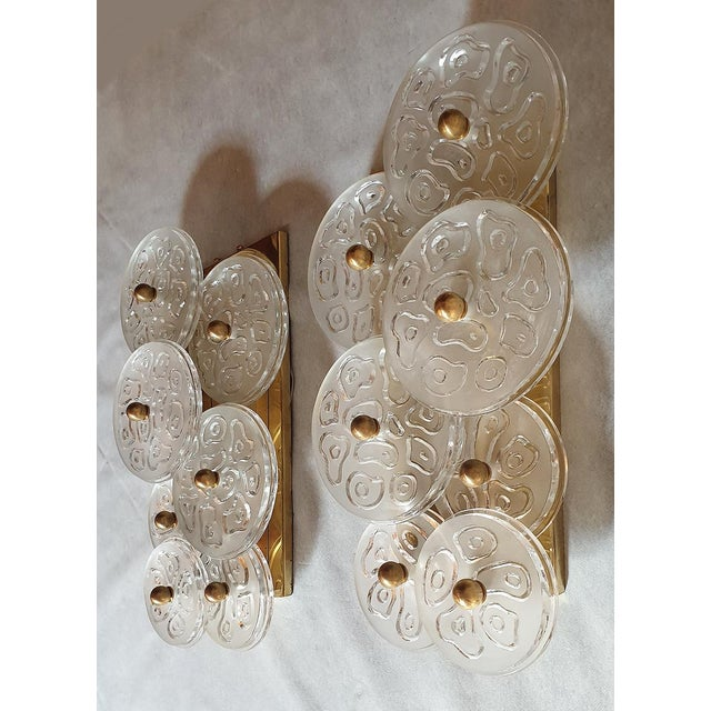 Mid-Century Modern Mid Century Modern Murano Glass & Brass Sconces by Vistosi Italy 1960s - 2 Pairs For Sale - Image 3 of 9