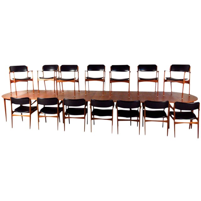Mid-Century Teak Conference Table & 14 Eric Buck Dining Chairs For Sale