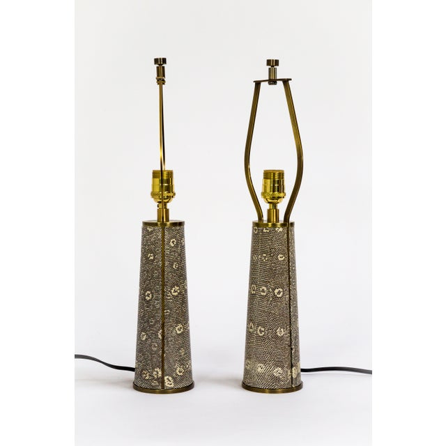 Lizard Skin & Bronze Borrego Lamps by Tuell + Reynolds - a Pair For Sale - Image 9 of 12