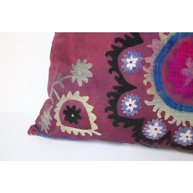 Rose Vintage Suzani Sofa Throw Pillow Cover For Sale - Image 8 of 11