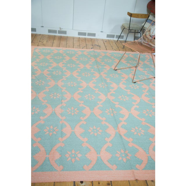 "New Blue Floral Dhurrie Carpet - 8'1"" X 9'9"" - Image 4 of 7"