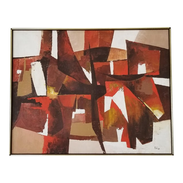 Mid-Century Acrylic on Canvas Painting by Palilo. For Sale