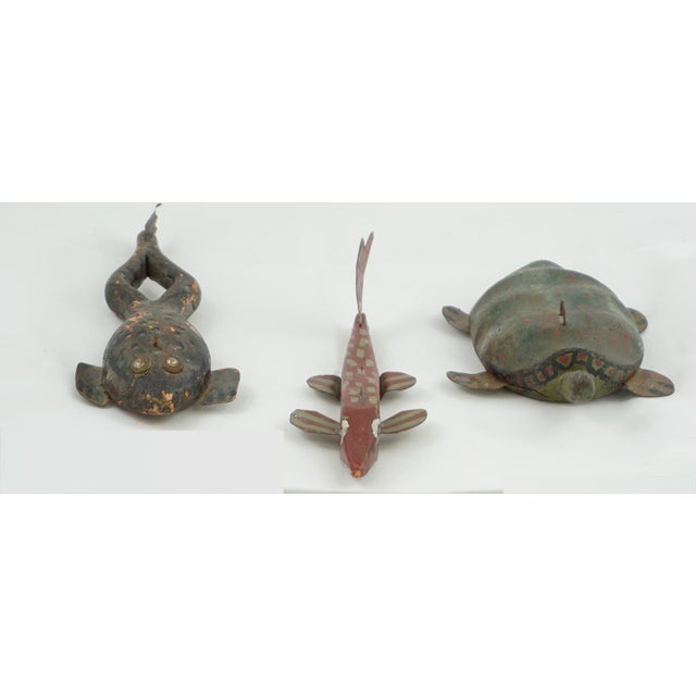 Hand Painted Folk Art Ice Fishing Decoys These are vintage decoys, a fish, a turtle and a frog. They are hand painted...
