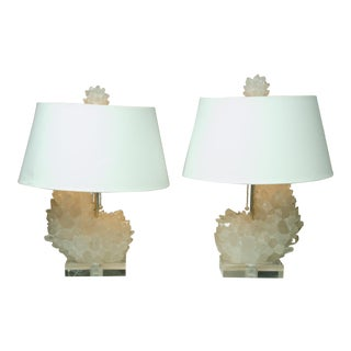 Pair of Rock Crystal Lamps on Lucite Bases For Sale