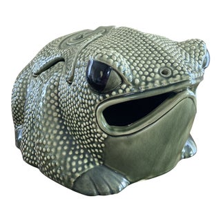 Vintage Chinese Export Green Hobnail Frog Planter For Sale