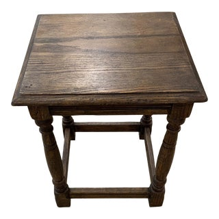 1920s English Oak Side Table/Stool For Sale