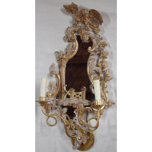 Late 20th Century 20th Century Rococo Gold Sconces- a Pair For Sale - Image 5 of 12