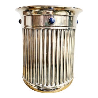 Vintage Cartier Silverplate and Lapis Wine Cooler For Sale