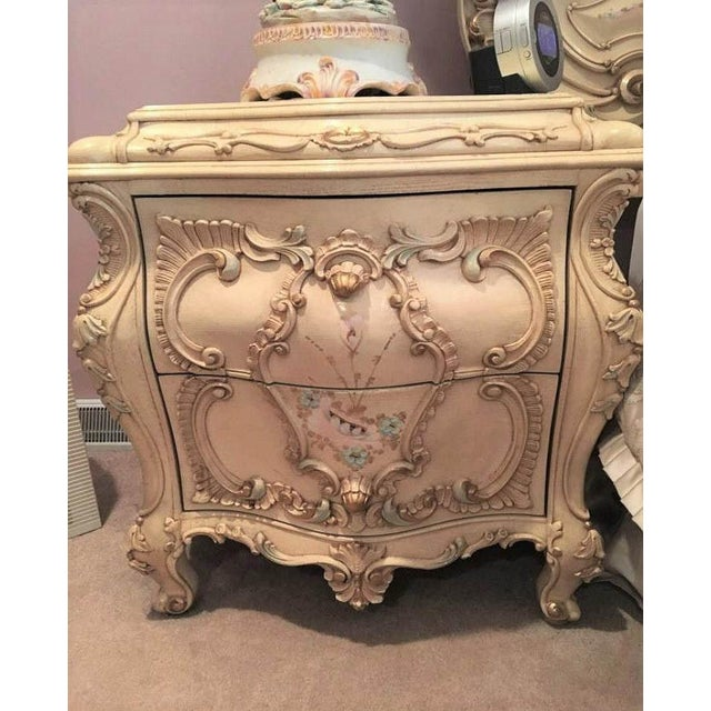 French Large Rare Romantic Antique Cream French Rococo Ornate Fancy Bedroom Pair of Nightstands / End Tables For Sale - Image 3 of 6
