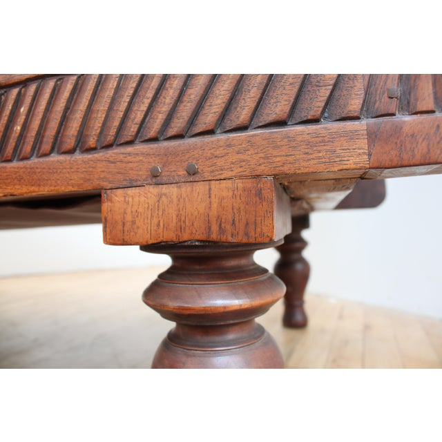 Gold Mahogany Chippendale Bench Sofa - Cape Buffalo Leather For Sale - Image 8 of 12