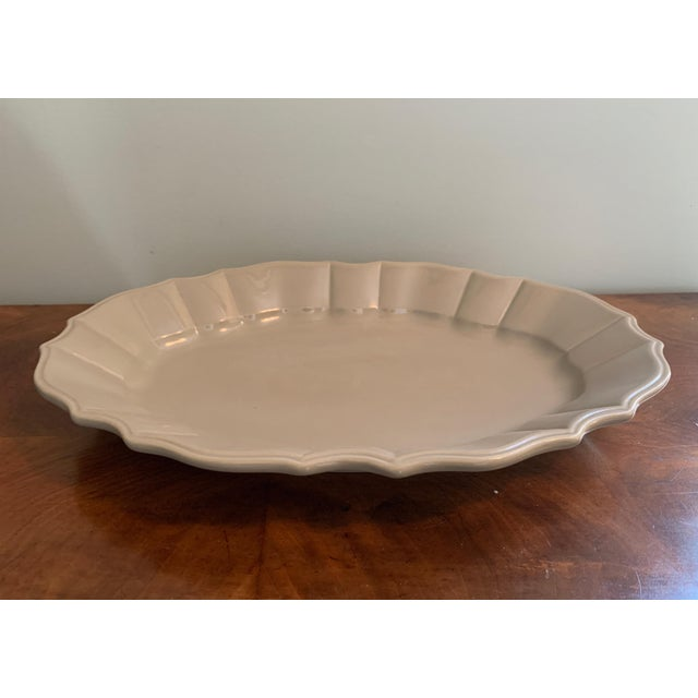 Bloomingdale's Bloomingdales Taupe Scalloped Edge Ceramic Platter For Sale - Image 4 of 8