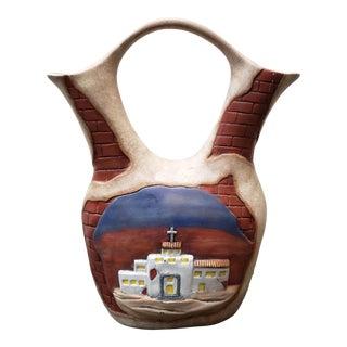 Vintage Navajo Style Ceramic Church Motif Wedding Vase For Sale