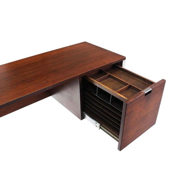 Silver Dunbar Large Walnut Executive Desk with Return For Sale - Image 8 of 10