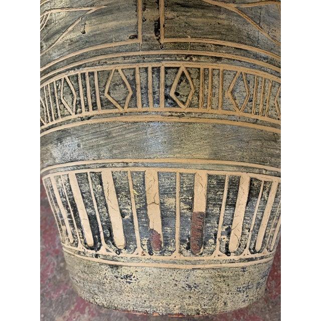 1980s Postmodern Egyptian Revival Large Pottery Floor Vase For Sale - Image 4 of 8