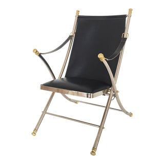 Italian 1970s Maison Jansen Folding Steel and Brass Campaign Chair For Sale