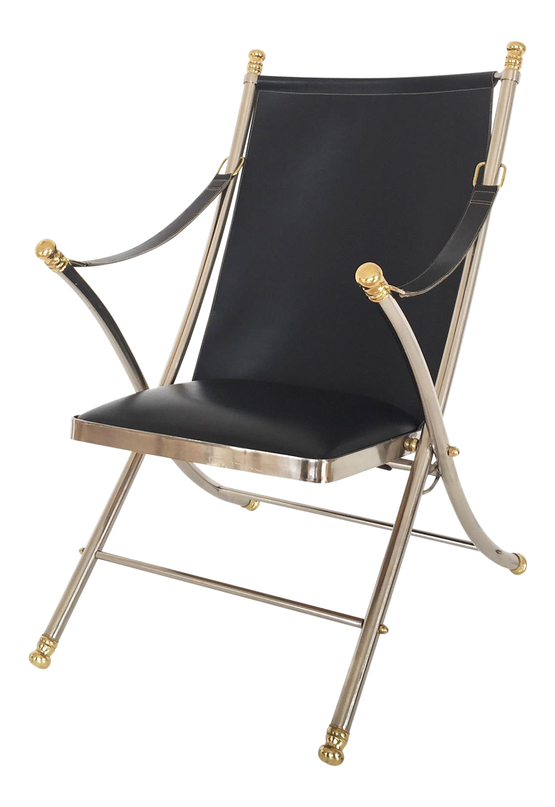 Italian 1970s Maison Jansen Folding Steel And Brass Campaign Chair