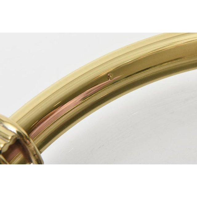 Brass 1990s Modern Glass and Brass Lipped Sculptural Bowl For Sale - Image 7 of 8