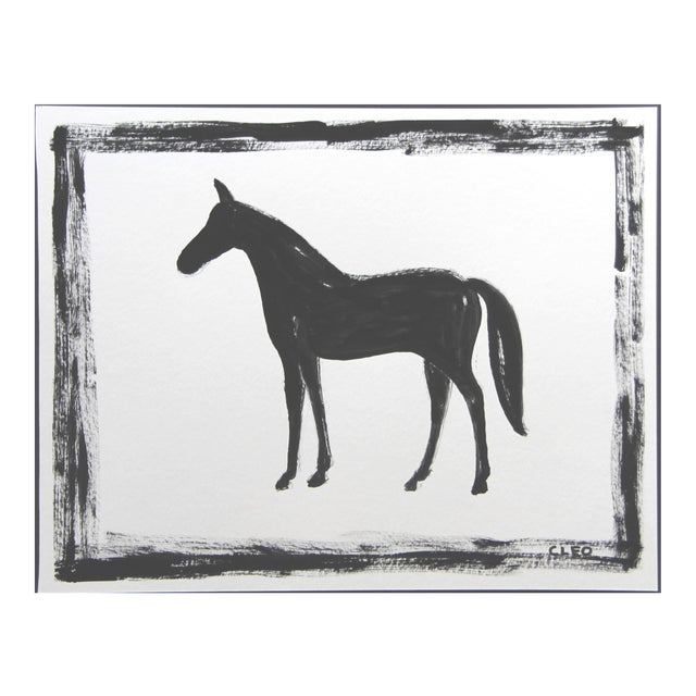 Black Horse Abstract Painting by Cleo Plowden For Sale