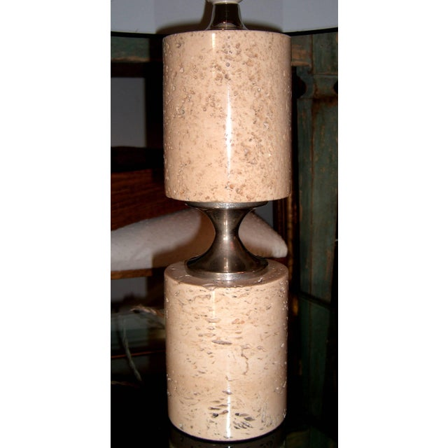 Pair of Travertine and Nickel Table Lamps Attributed to Maison Barbier For Sale - Image 4 of 6