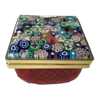 Murano Red Glass Box With Millefiori Lid For Sale