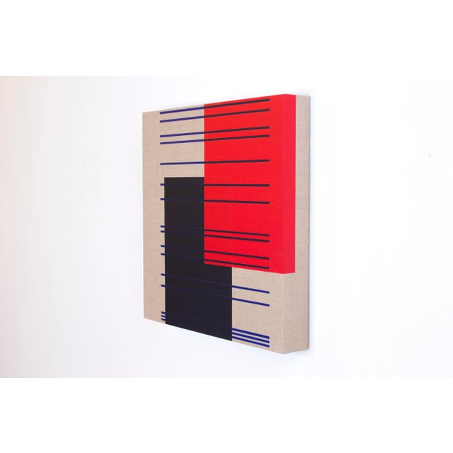 This contemporary abstract painting by American artist Brandon Woods features layers of dark indigo, vibrant red, and...