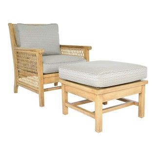Oak and Wicker Lounge Chair With Ottoman
