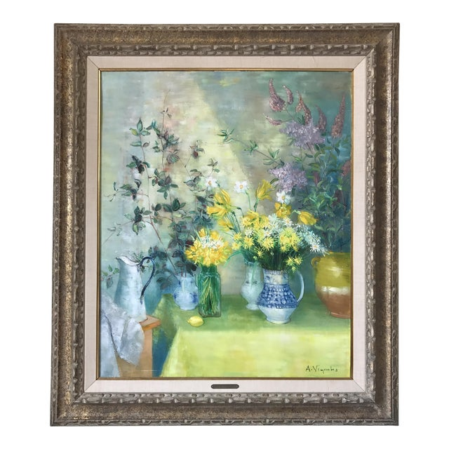 Mid Century Floral Painting by Andre Vignoles For Sale