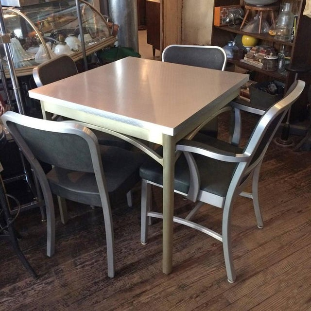 1940s Mid-Century Modern Brushed Aluminium Dining Set - 5 Pieces For Sale In New York - Image 6 of 10