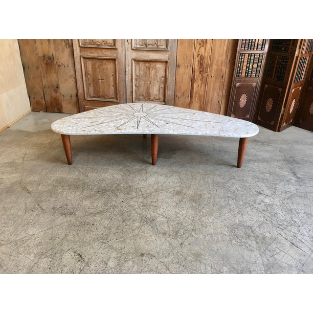 Marquetry Marble Coffee Table: 20th Century Italian Terrazzo Marble With Brass Sunburst