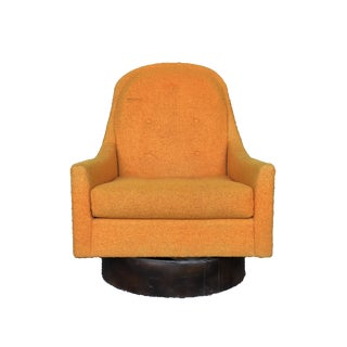 Mid-Century Modern Milo Baughman Style Floating Orange Swivel Lounge Chair With Wood Base For Sale