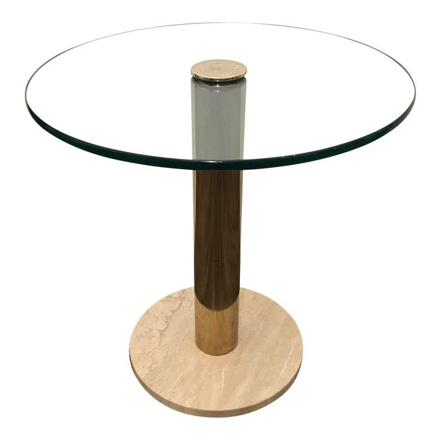 Pace Collection Italian Marble, Brass and Glass Side Table For Sale