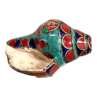 Lacquered Hand Painted Conch Shell For Sale