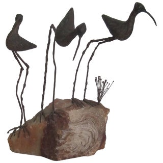 Signed Onxy and Bronze Birds Sculpture by Designers C. Jere, Ca.1960s For Sale