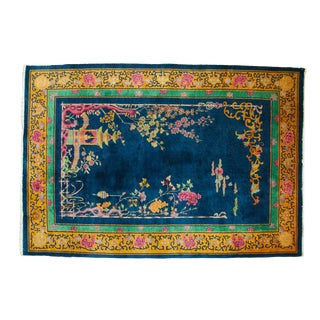 """Vintage Nichols Art Deco Carpet - 6'1"""" X 8'10"""" For Sale"""