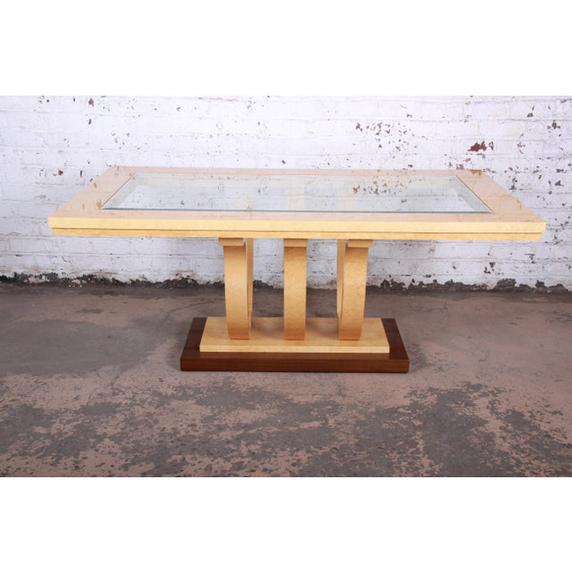 Art Deco Italian Art Deco Birdseye Maple and Mahogany Pedestal Extension Dining Table For Sale - Image 3 of 11