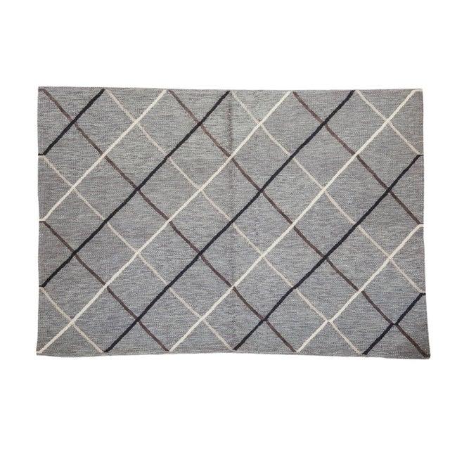 """Gray Argyle Kilim Rug - 3'8"""" x 5'4"""" - Image 1 of 6"""