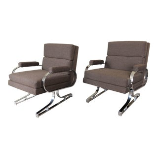 Mid-Century Chrome Lounge Chairs - A Pair